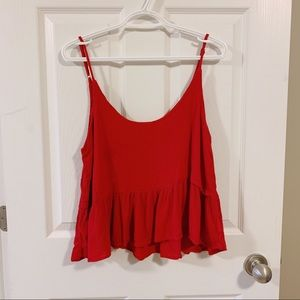 Red cropped flowy tank